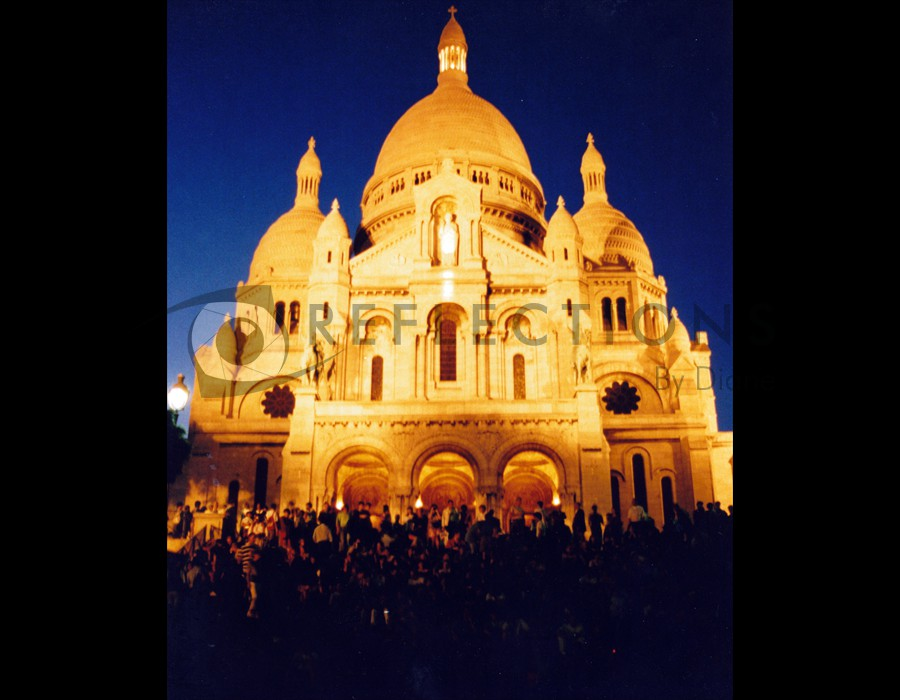 Basilica of the Sacred Heart of Paris Montmartre at Night
