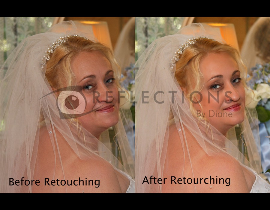 Before and After Retoucing Closeup